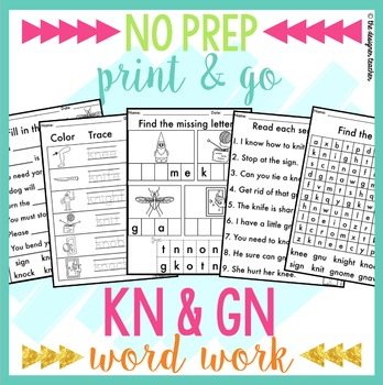 NO PREP Silent Letters KN GN Worksheets Phonics Word Work