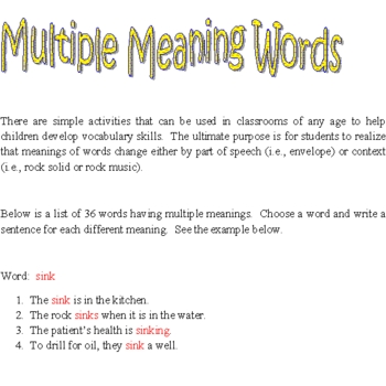 Words with Multiple Meanings