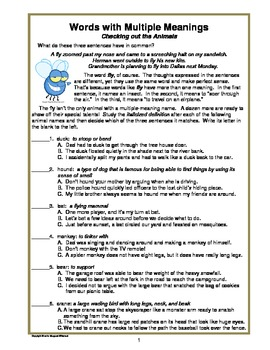 Words with Multiple Meanings:  Free Download CCSS L3-5.4