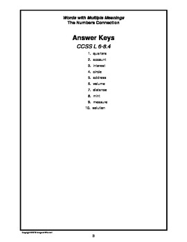 Words with Multiple Meanings:  Numbers Connections CCSS 6-8.4