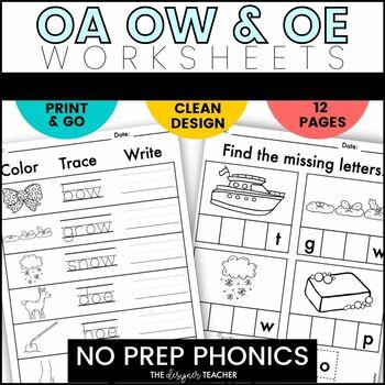 NO PREP Print & Go OA, OW, & OE Word Work