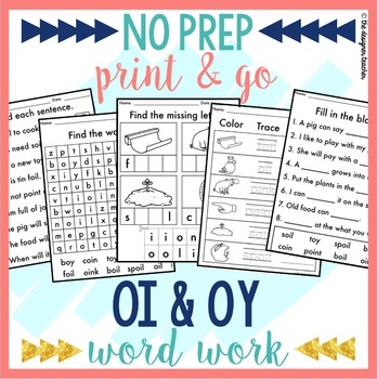 NO PREP OI OY Worksheets Diphthongs Phonics Word Work