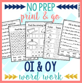 NO PREP OI OY Worksheets | Diphthongs Word Work