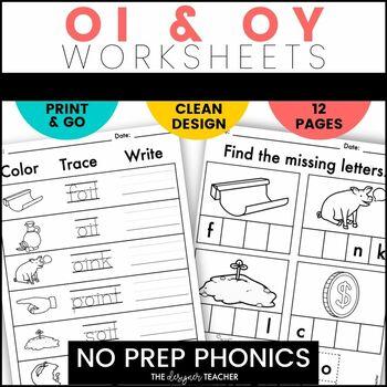 NO PREP OI OY Worksheets | Diphthongs Word Work