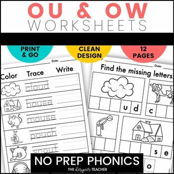 NO PREP Print & Go OU & OW Word Work