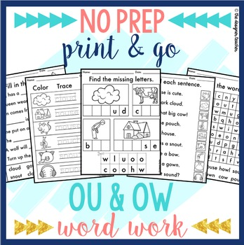 Ou And Ow Worksheets Teaching Resources Teachers Pay Teachers