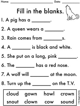 NO PREP OU OW Worksheets | Diphthongs Word Work