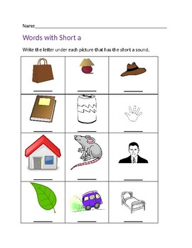 Words with Short a Worksheet #1