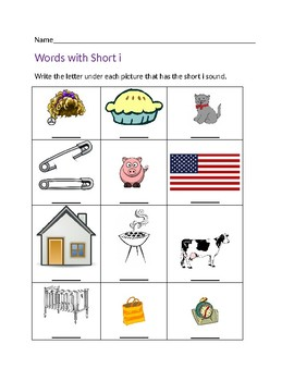Words with Short i Worksheet #1