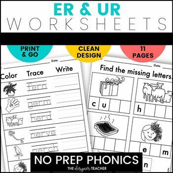 NO PREP R-Controlled Vowels UR ER Worksheets Phonics Word Work