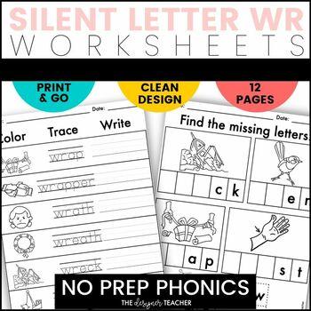 NO PREP Print & Go Silent Letter WR Word Work