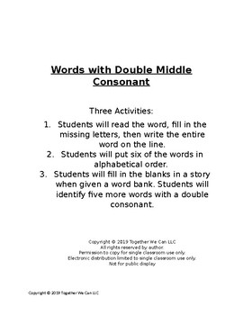 Words with a Double Middle Consonant - Three Activities