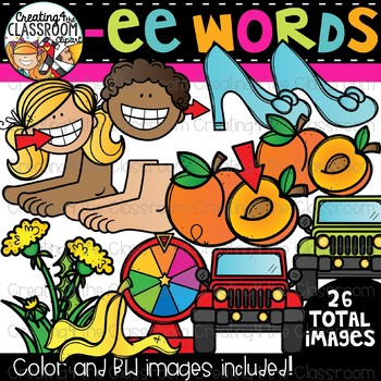 Words with -ee {Phonics Clipart}
