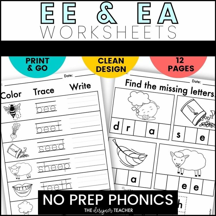 No Prep Ee Ea Worksheets Phonics Word Work By The Designer