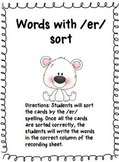 Words with /er/ Sort with Recording Sheet {Polar Bear Theme}