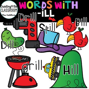 Words with -ill  {Word Family Clip Art}