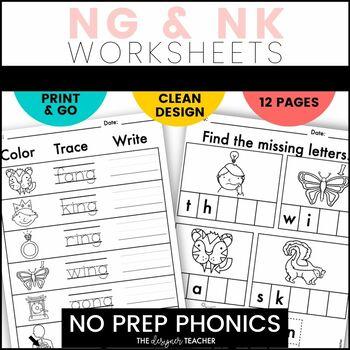 NO PREP Print & Go NG & NK Word Work