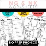NO PREP Phonics Worksheets NG & NK Word Work