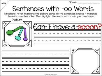 Words with -oo Word Work Activities