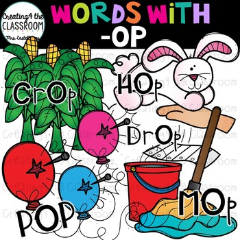 Words with -op  {Word Family Clip Art}