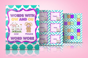 Words with -ow and -ou Spelling Pattern Word Work Games an