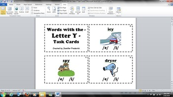 Words with the Letter Y - Long E or I Sound? - Task Cards