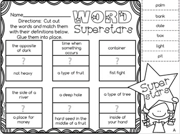 Words with the Same Meaning ~ Homonyms Printables