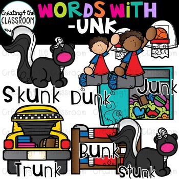 Words with -unk  {Word Family Clip Art}