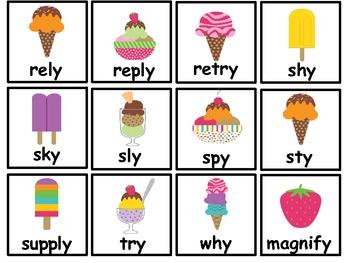 Words with /y/ Literacy Centers- Word Sort, Bingo, Worksheets