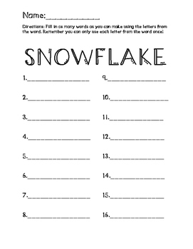 Words you can make using SNOWFLAKE