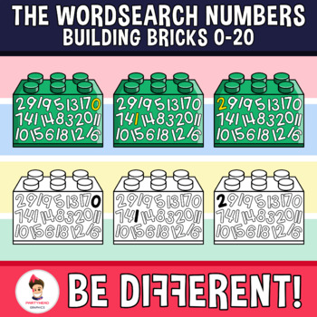 Wordsearch Numbers Clipart Building Bricks (0-20)