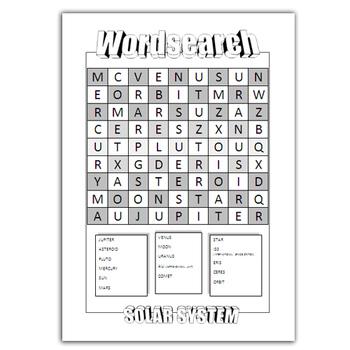 Wordsearch SOLAR SYSTEM