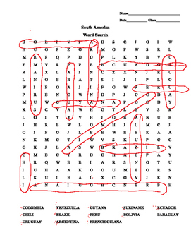 Wordsearch South America Countries