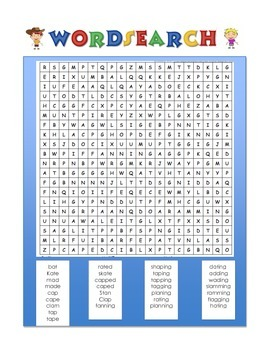 Wordsearch and Word Scramble Long & Short Vowel A Words