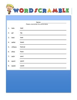 Wordsearch and Word Scramble Long & Short Vowel E Words