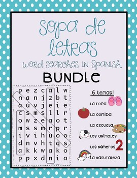 Wordsearch-bundle of 6 spanish puzzles