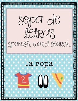 Wordsearch-clothes in spanish