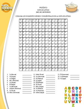 Wordsearch in Spanish - Preterite Tense by Easy Spanish For Everyone