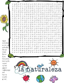 Wordsearch-nature in spanish