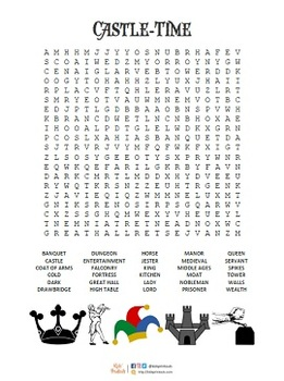 Wordsearch puzzles x 5 for London, Castles, Knights, Vikings, Da vinci