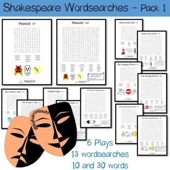 Wordsearch sheets x 13 for William Shakespeare and 6 plays - 10 and 30 words