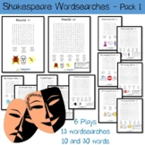 Wordsearch sheets x 13 for William Shakespeare and 6 plays