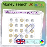 Wordsearch using UK coins instead of letters (19 Money & Numeracy sheets)