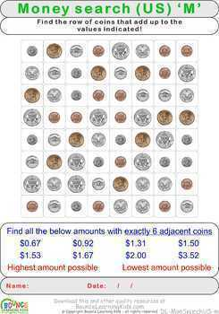 Wordsearch using US coins instead of letters (28 Money & Numeracy)