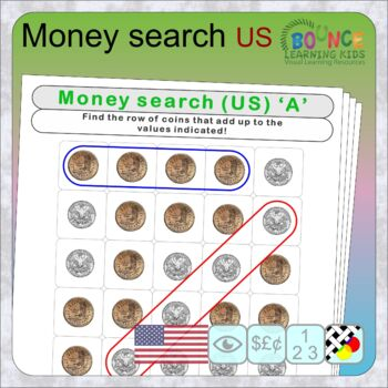 Wordsearch using US coins (28 distance learning worksheets for Money)
