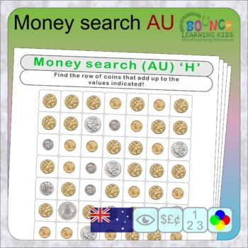 Wordsearch using Australian coins (16 distance learning worksheets for Money)