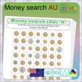 Wordsearch using Australian coins (16 distance learning wo
