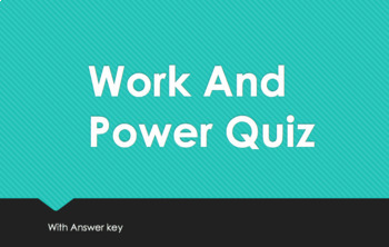Work And Power Quiz