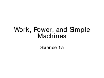 Work and Simple Machines ppt