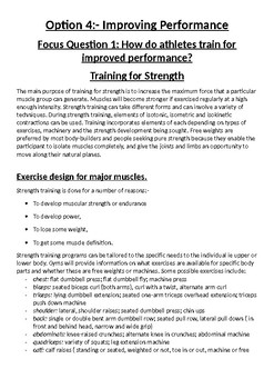 Work Booklet for Improving Performance in athletes